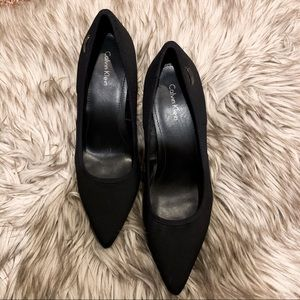 Calvin Klein black stretch pumps